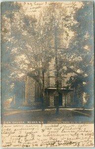 MORRIS, New York RPPC Real Photo Postcard ZION CHURCH Building View 1907 Cancel