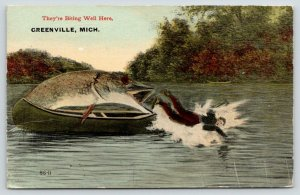 Are Biting Well Here in Greenville Michigan~Exaggerated Fish Attacks Man~1913