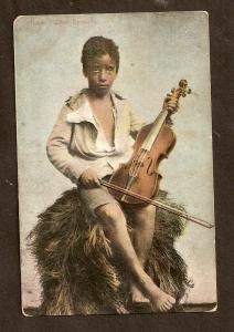 POSTCARD - BEAUTIFUL BLACK BOY WITH VIOLIN - BERMUDA