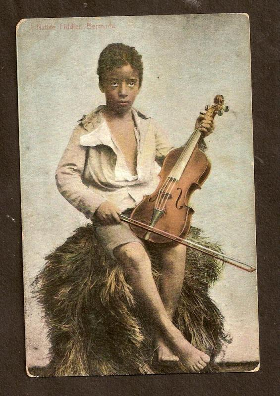 POSTCARD - BEAUTIFUL BLACK BOY WITH VIOLIN - BERMUDA