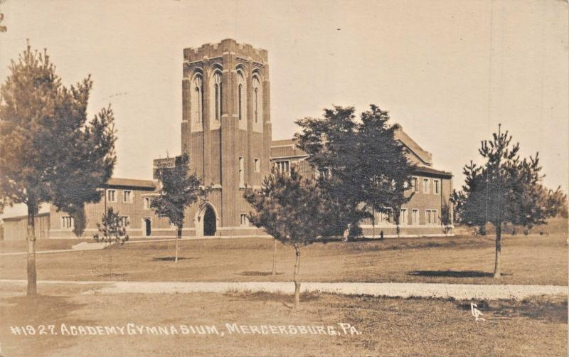 MERCERSBURG PENNSYLVANIA~ACADEMY GYMNASIUM REAL PHOTO POSTCARD 1918 psmk