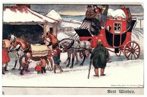 Alan Wright Vernon Stokes Cheval & Buggy Neige Scène Antique Carte Postale