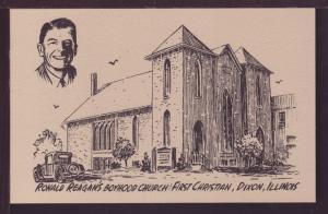 Ronald Reagan's Boyhood Church Dixon IL Post Card 3473