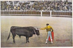 Matador Prepares To Kill 1920s Spanish Bullfighting Antique Postcard