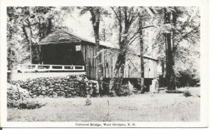 Covered Bridge West Ossipee New Hampshire Black and White Photograph Vintage
