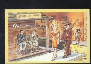 VIRGIN CITY HOTEL ASHEVILLE DC-18 VINTAGE COMIC POSTCARD PRETTY GIRL RISQUE