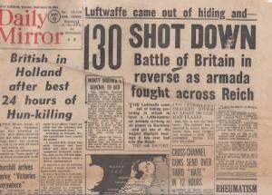Daily Mirror Luftwaffe Armada  Battle Of Britain WW2 ORIG Newspaper