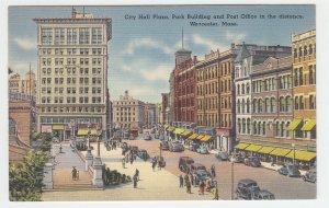 P2024 vintage postcard many cars people city hall plaza worcester mass unused
