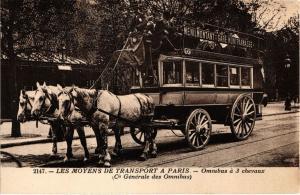 CPA AK PARIS - Les Moyens de Transport - Omnibus á 3 chevaux (218789)