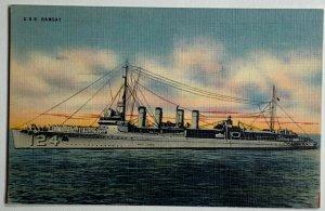 VTG Old Linen Era Postcard US Navy USS Ramsay DD-124 Ship Mine Layer WW2 Unused