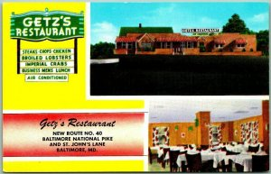 Baltimore, Maryland Postcard GETZ'S RESTAURANT Highway 40 Roadside c1950s Unused