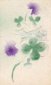 Embossed, Purple flowers, Shamrock, clovers, bow, PU-1910