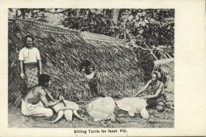 fiji islands, Native Men Killing Turtle for Feast (1910s) Robbie en Company