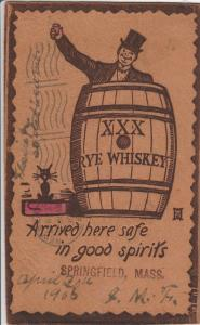 Springfield MA~Comic Pun~Arrived in Good Spirits~Man in Whiskey Barrel~Leather