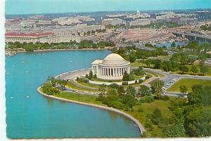 Postcard Washington DC Aerial Jefferson Memorial  Park Free Shipping  # 2355A
