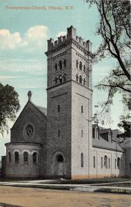 Ithaca New York~Presbyterian Church~Stone Bldg with Large Bell Tower~1909 PC