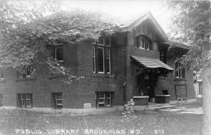 Brookings South Dakota~Public Library~Chalkboard by Entrance w Writing~'30s RPPC