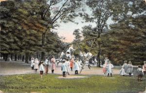 Minneapolis MN~Riverside Park~Children Fill Playground~Swings~Teeter Totter~1910
