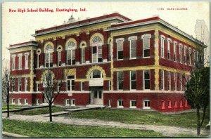 1908 HUNTINGBURG, Indiana Postcard New High School Building Building View