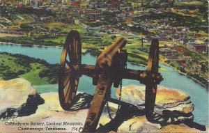Chattanooga TN, Lookout Mountain, Confederate Artillery Cannon Linen PC 1930-45
