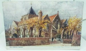 Vintage Antique Postcard Rye Church Sussex Drawing by W H Borrow posted 1906