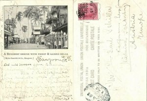 burma, RANGOON, Buddhist Shrine with Priest & Sacred Bells (1903) Court Card