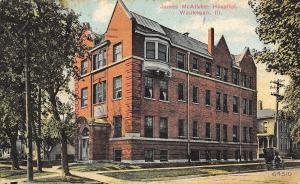 Waukegan Illinois~James Jane McAlister Hospital~Houses~Buggy~1911 Postcard