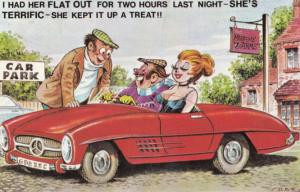 Motorist With Sexy Lady Keeps Her Up All Night Love Make Comic Humour Postcard