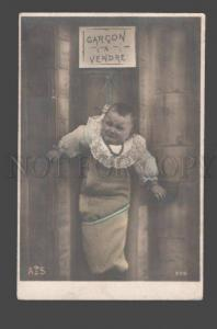086496 Crying Baby on Fence Vintage PHOTO tinted PC