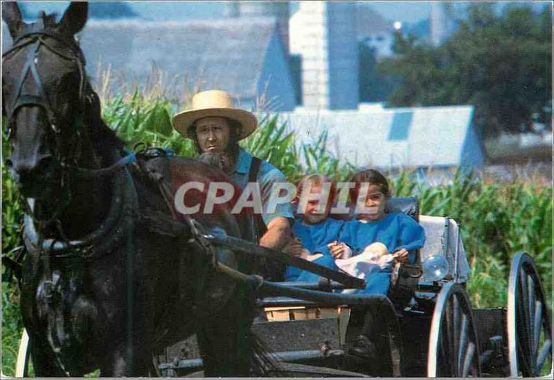 CPM Amish country an amish father and his two daughters riding in an amish court