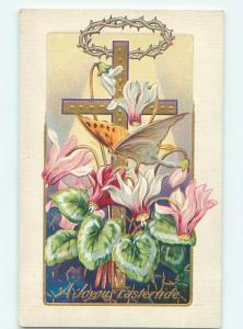 Pre-Linen easter BEAUTIFUL BUTTERFLY WITH JESUS CROSS & CROWN OF THORNS hr2217