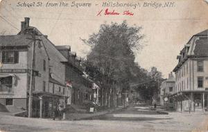 Hillsborough Bridge New Hampshire School St from the Square antique pc Y11141