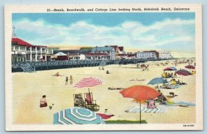 Postcard DE Rehoboth Beach Cottage Line Bathing Beach Boardwalk View Linen L18