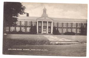 New Castle DE William Penn High School Vintage Postcard