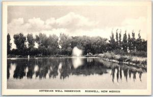 Roswell, New Mexico Postcard ARTESIAN WELL RESERVOIR Albertype 1930s Unused