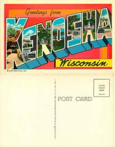 Greetings from Kenosha Wisconsin Large Letter Chrome Era