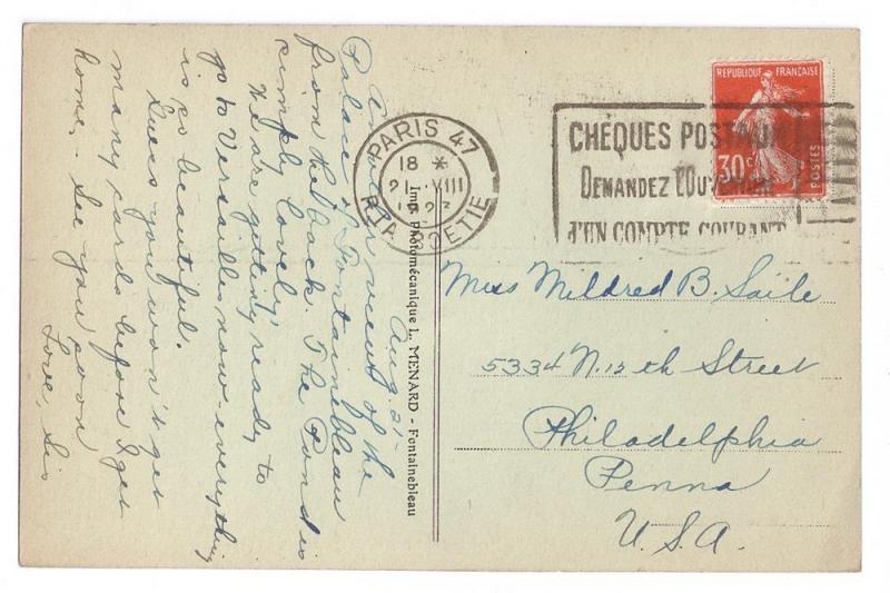 Palais de Fontainebleau Tinted Litho 1923 Vintage Postcard