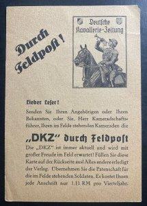 Mint WW2 Germany Advertising Postcard Cavalry Festival Feldpost DKZ