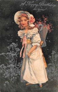 Birthday Greetings Girl Picking Flowers White Bonnet PFB Postcard JJ658849