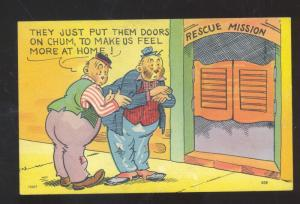 DRUNK MEN RESCUE MISSION BAR DOORS VINTAGE COMIC POSTCARD