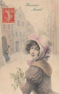 M.M. VIENNE #336 : 1900-10s ; Woman in bonnet, Heureuse Annee!