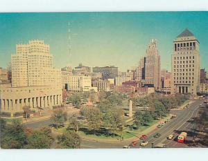 Unused 1950's OLD CARS & DOWNTOWN AT MEMORIAL PLAZA St. Saint Louis MO Q7908-16