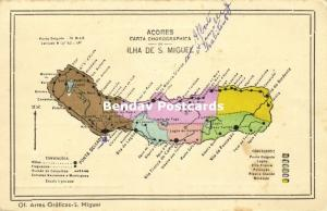 Portugal Azores Acores, Ilha de S. Miguel, MAP Postcard (1910s)