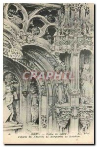 Old Postcard Brou Church Bourg Figures of the Mausoleum of Margaret of Bourbon