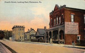 Parnassus PA 4th Street Scene Embalmer Sign New Kensington 1912 Vintage Postcard