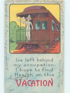 Pre-Linen suffrage INDEPENDENT WOMAN ON VACATION FROM HER OCCUPATION HL2919