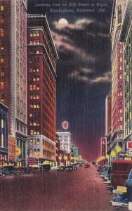 Alabama Birmingham Looking East On 20th Street At Night