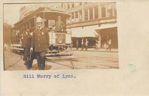 Lynn MA Storefronts Bill Murry Deputy Chief Trolley #11 RPPC Postcard
