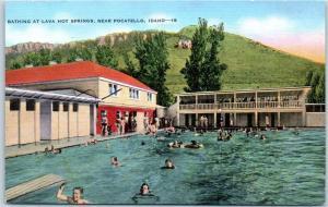 Pocatello, Idaho Postcard Bathing at Lava Hot Springs Pool Scene Linen 1940s