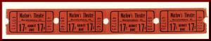 Four .17 Cents Marlow's Movie Theatre Tickets, Murphysboro, Illinois/IL, 1950's?